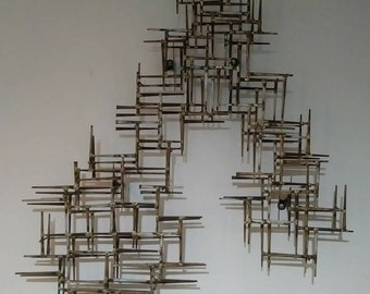 Large Vintage Marc Creates Brutalist Mid Century Modern Nail 3D Art Wall Sculpture