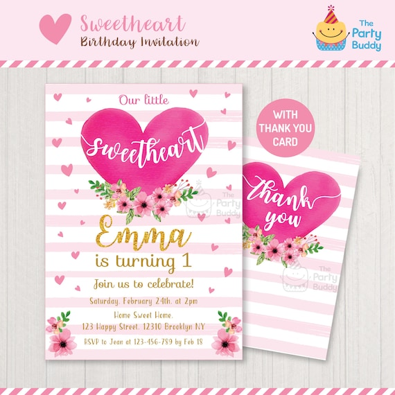 Little Sweetheart Birthday Party Invitation Valentine Girls