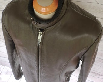 Classic Vintage LESCO LEATHERS Brown Cafe Racer LEATHER Motorcycle Jacket Sz 46