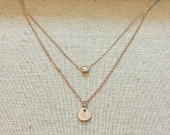 14k rose gold plated Layered Initial necklace