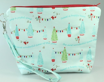 Alpine Christmas Zip Bag/ Pouch with Wrist Strap