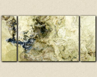 """Oversize triptych abstract expressionism art gallery wrap canvas print, 30x60 to 40x78 in olive, cream and khaki from abstract """"Stone Creek"""""""