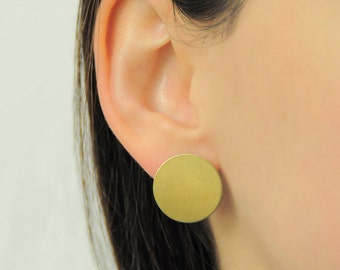 Minimalist brass earrings-geometric earrings, handmade-circle stud earrings-day