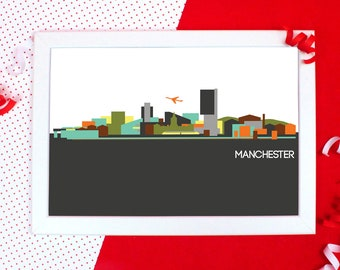 Cityscapes Print - Manchester Print - Manchester Skyline Wall Art - Graphic Print of Manchester - Holiday Souvenir