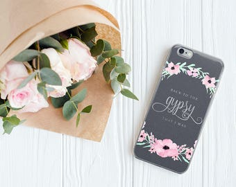 STEVIE Nicks Gypsy iPhone 7 8 X Case, iPhone Calligraphy Boho Watercolor Floral Wreath, Gifts for Her, iPhone 6s, iPhone 6 Plus Gray Grey