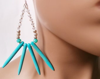 Turquoise Spike Earrings Wakanda Inspired SIlver Plated