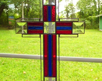 Stained Glass Cross / Crucifix - Blue and Red Texture Suncatcher