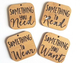 Christmas Gift Tags Something You Need-Something To Read-Something To Wear-Something You Want-Wooden Gift Tags-present-Christmas Gift
