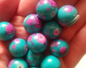 lot of 11 ceramic beads, blue with abstract pink flowers, bead, jewelry, blue, pink, craft, supplies