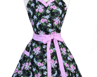 Sweetheart Retro Apron - Black and Magenta Rose Floral Apron - Womens Flirty Sexy Kitchen Pinup Cute Apron with Pocket - Monogram Option