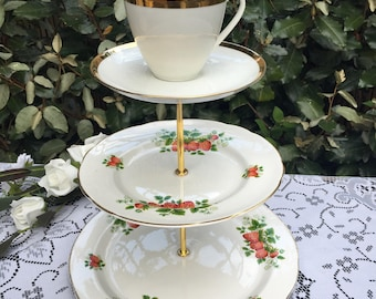 Vintage Strawberry theme  3 tier cake plate stand. mismatch bone china. Wedding. Mad Hatter. party.  cream tea.