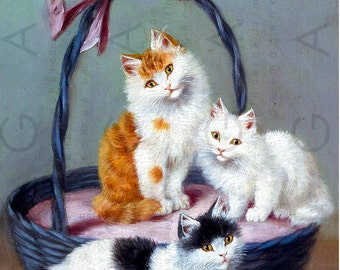 Adorable Cats In A Basket Vintage Cat illustration Digital Kitty Download Kitten Print Antique Cat Painting