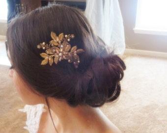 Antique gold hair comb, Bridal hair comb, Wedding headpiece, Swarovski crystal headpiece, Bridal hair clip, Rhinestone hair comb, Vintage