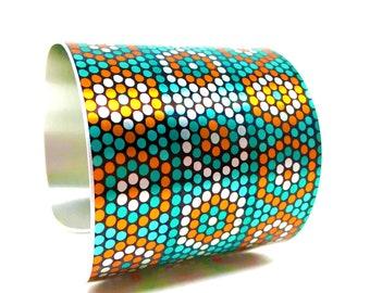 Printed Tribal Bangle, Statement Bracelet, Native Bead Mosaic Bracelet, Bead Graph Indian Bracelet, Mosaic Jewelry, Statement Bracelet