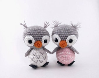 PATTERN: Ollie and Opal - Crochet owl pattern - amigurumi owl pattern - crocheted owl pattern - owl amigurumi - PDF crochet pattern