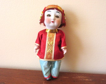 Vintage Push Voice China Doll - 6 inch - Sleeping Doll - Made in Japan - Bisque Head - jointed - red and blue - original box