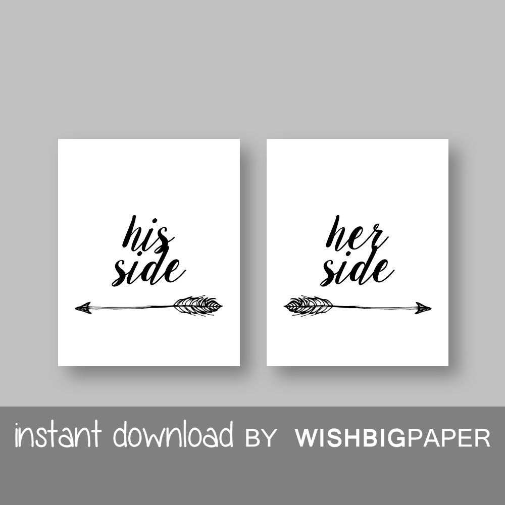 Her Side His Side wall art Instant Download Set of three