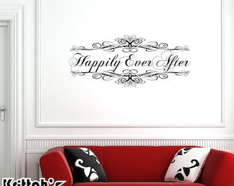 Happily Ever After Vinyl Wall Decal Quote with an extra curly fairytale script font (53 x 23 inches) L087