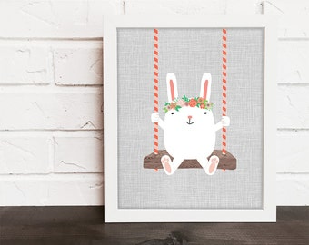 bunny nursery wall art, bunny wall decor, bunny wall art print, girls room decor, nursery decor, white nursery print, gray and pink nursery