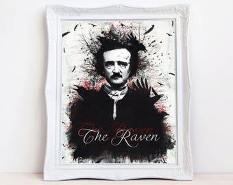 Edgar Allan Poe | Poe artwork | Poe print | The raven | Gothic print | Gothic art | Poe wall decor | Raven art | Raven print | crow print