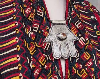handmade vintage Islamic Eye of Fatima hamsa The Hand of Fatima with arabic Calligraphy Pendant and agate stone Afghanistan (nickel silver )