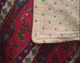 Whole Llama Love cotton flannel baby blanket/swaddle
