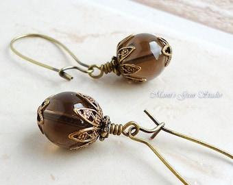 Smoky Quartz Earrings in Antiqued Brass, Kidney Earwires, Handcrafted Gemstone Jewelry
