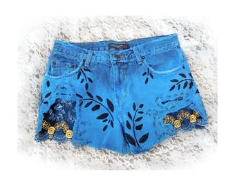Blue dyed shorts - hand painted shorts -Blue upcycled shorts - Blue denim shorts - grunge shorts - cut off shorts - size 6-  # 20