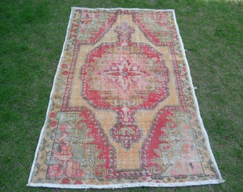Vintage Oushak Rug, Vintage Turkish Rug, Bohemian Rug, Boho Rug, Distressed Rug, Turkish Oushak Rug, Nursery Rug, Multicolor Rug