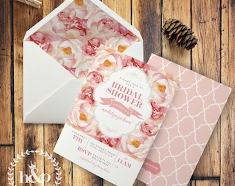 Pink and Gold Floral Watercolor Bridal Shower Invitation