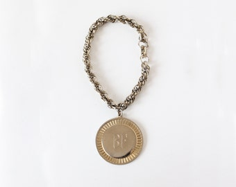 Vintage Coro 'BF' Monogram Medallion Bracelet