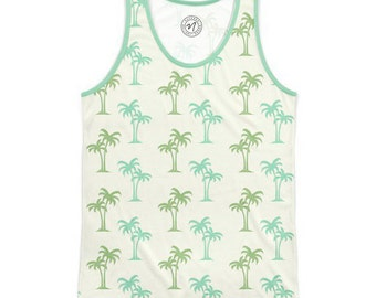 Men's tank top (Green Palms) XL