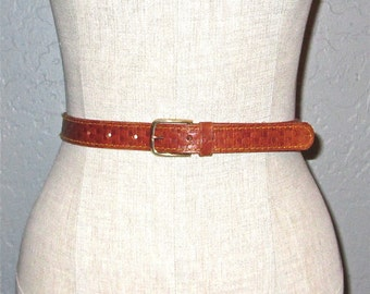 Vintage 70s belt TOOLED LEATHER skinny belt - S/M