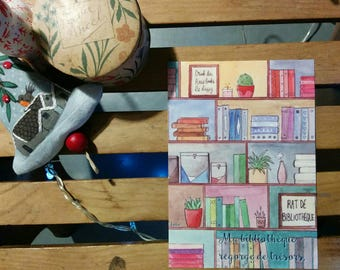 """A6 postcard """"my library is filled with treasures"""""""