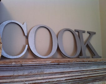 Wooden Wall Letters - Set of 4 - COOK - 10 inches - Roman Font