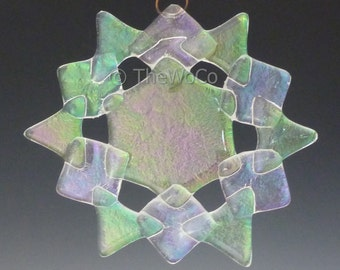 SHIMMER Clear Iridized Snowflake, Fused Glass Ornament Suncatcher