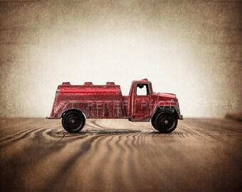 Vintage Toy Fire Watering Truck on Barn wood Photo Print, Rustic Decor, Boys Nursery, Red themed, Fireman room
