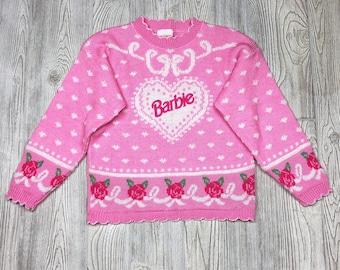 RARE Vintage Floral Embroidered Barbie Sweater Pastel/Neon Pink Kawaii Fairykei 80s