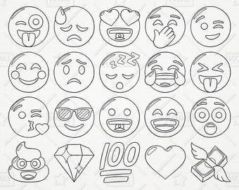 Doodle Emoji Vector Pack, Smiley Faces Clipart, Hand Drawn Emoji Clipart, Printable Emoji, Emoji Vectors, Emoji Stickers, SVG, PNG file