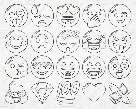Doodle Emoji Vector Pack Smiley
