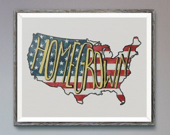 USA Homegrown Handlettered Watercolor Typographic American Flag Instant Download Digital 8x10 Art Print