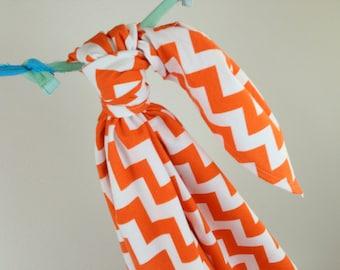 Riley Blake Orange Chevron Baby Swaddling Blanket--LARGE