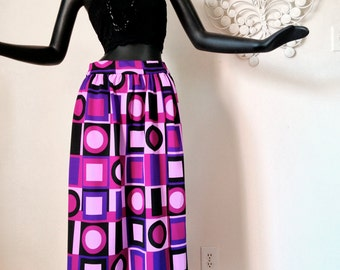 Super MOD 60s 70s Space Age Maxi Skirt Vintage 1960s 1970s Purple Black Magenta Op Art Print Geometric 29 Waist