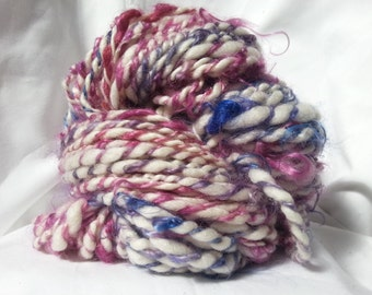 Handspun, hand dyed Art Yarn, Mohair/Blue Faced Leicester Wool
