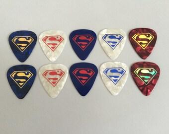 10 pc. SUPERMAN Celluloid Guitar Picks set - GP155