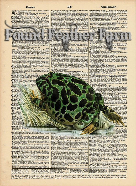"""Vintage Antique Dictionary Page with Antique Print """"Green Bullfrog"""""""