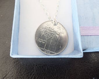 Roman CENTURION taking an olive branch 100 peseta coin necklace