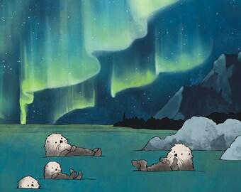 Sea Otter Art Print - Aurora Borealis and Arctic Animals Nursery Art, Arctic Illustration, Ocean Animals, Sea Otter Family