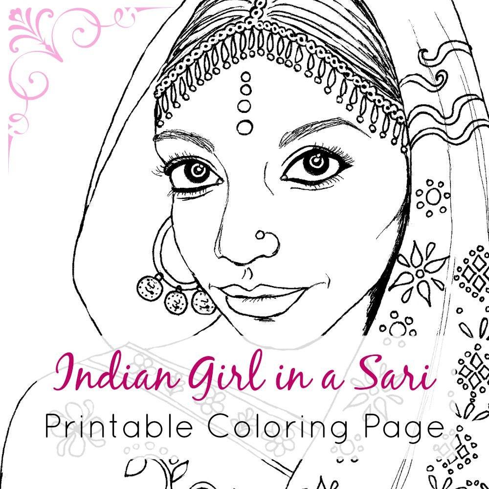Indian Girl Adult Coloring Book Page Printable Digital