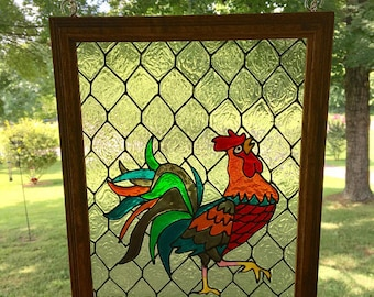 Rooster Kitchen Decor - Rooster Painting - Stained Glass Rooster - FAUX Stain Glass - Suncatcher - Farmhouse Decor - Chicken Wire Decor